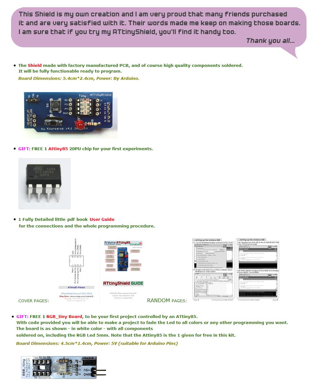 NEW Arduino Shield 4 1 ATtiny85 Programmer + FREE GIFT:1